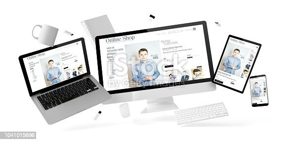istock office stuff and devices floating with online shop 1041015696