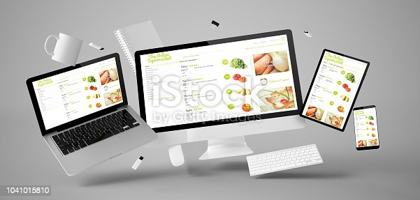 office stuff and devices floating with online supermarket 3d rendering