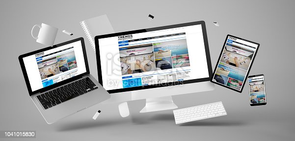 istock office stuff and devices floating with trends magazine 1041015830