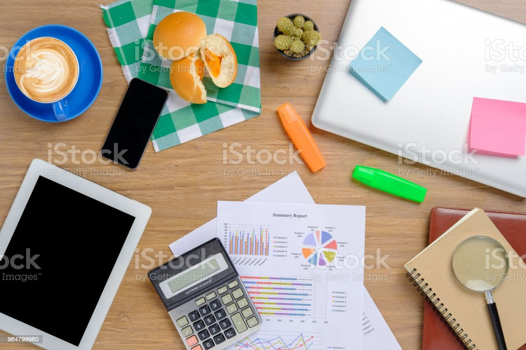 Office stuff with laptop,notepad,notebook,calculator,smartphone royalty-free stock photo