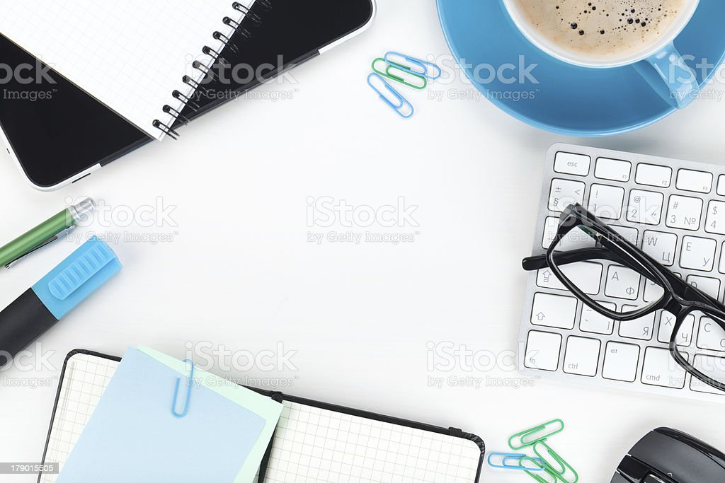 Office supplies and coffee cup closeup royalty-free stock photo