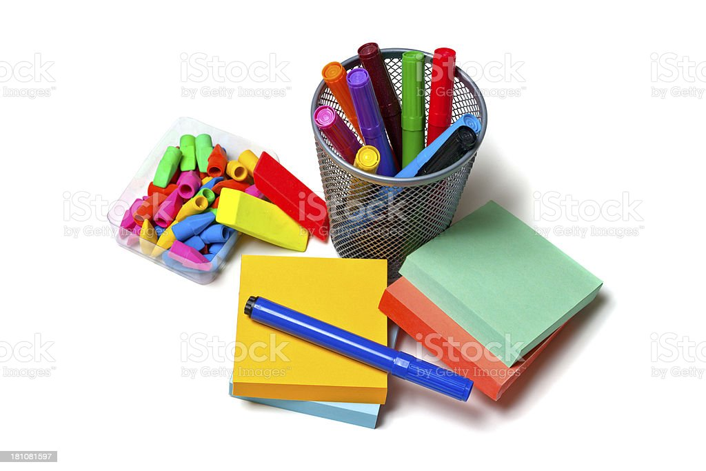 Office Supplies: Note Pads, Pens, Erasers royalty-free stock photo