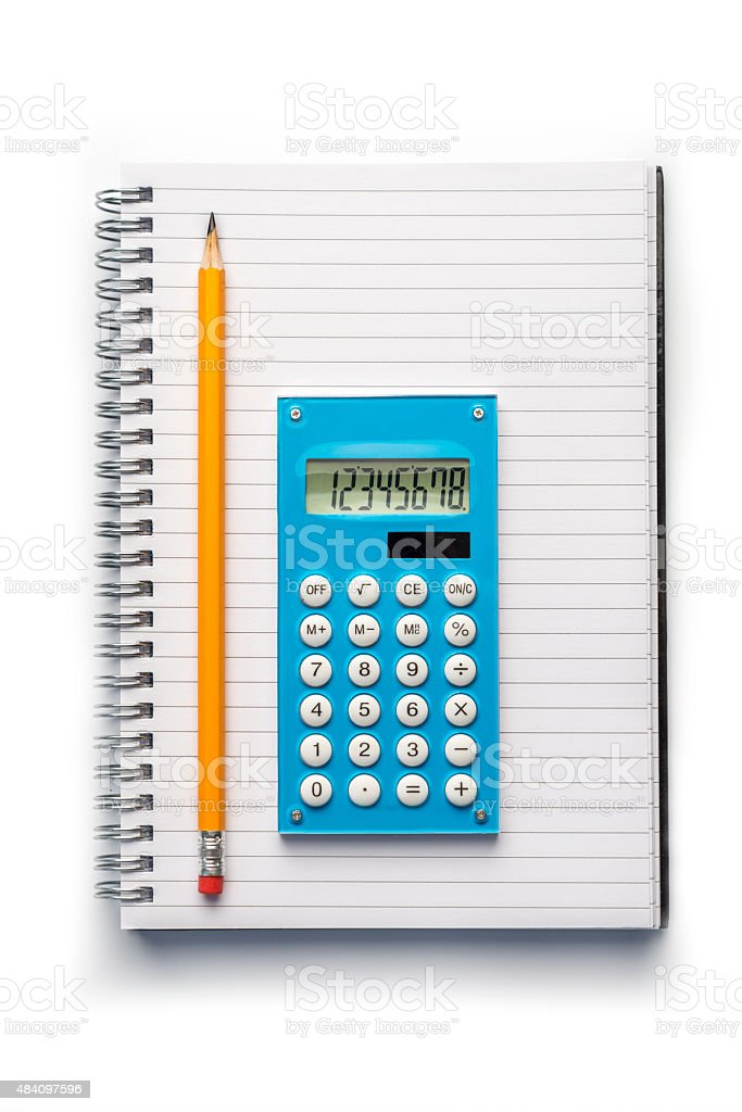 Office supplies,  Notebook, Calculator and Pencil stock photo