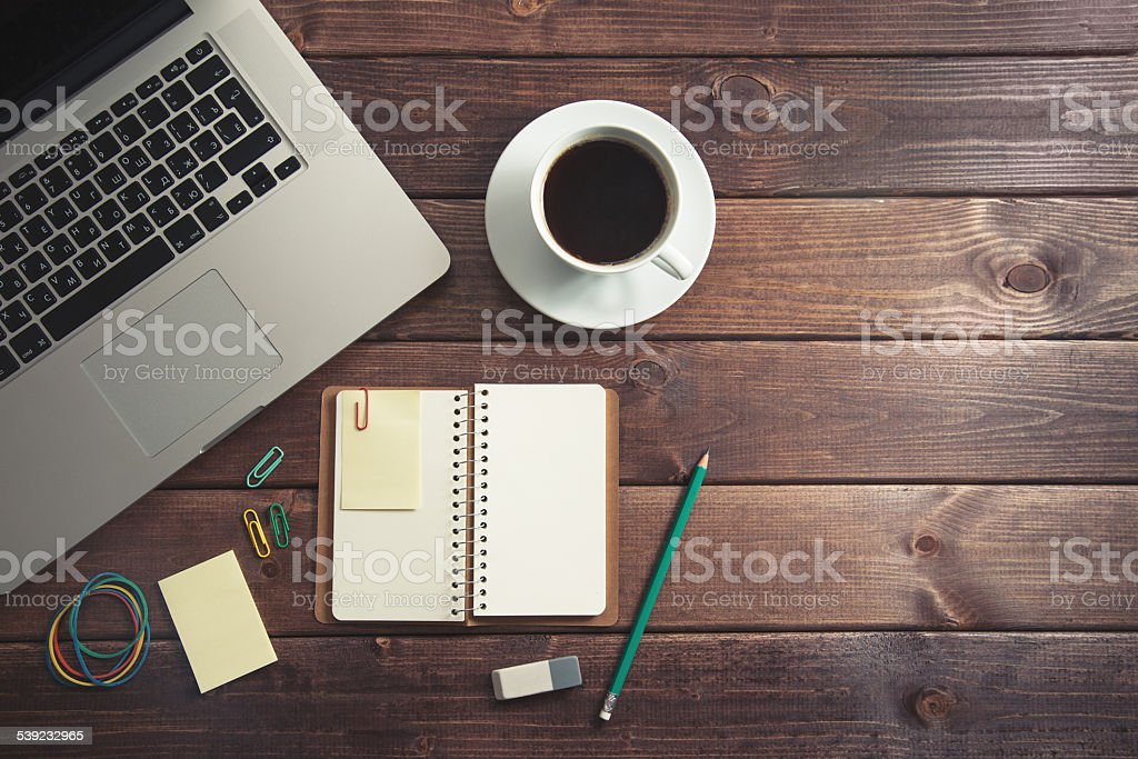 Office supplies on the wooden table stock photo