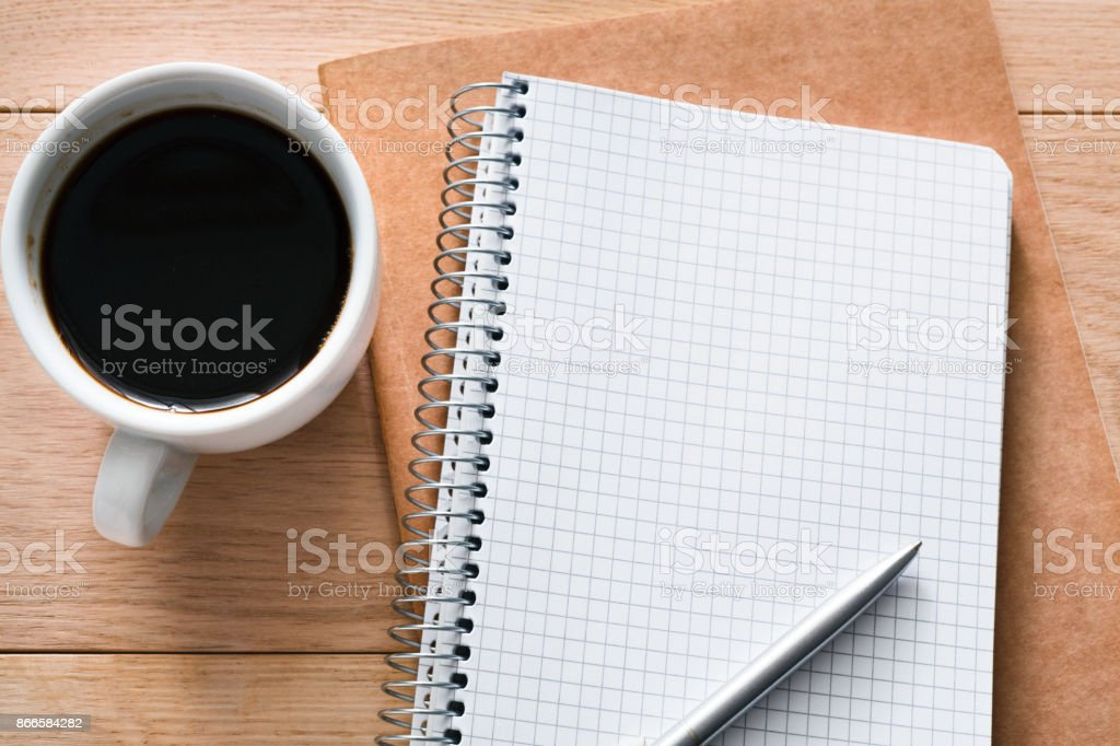 Office supplies, writing concept on wood background stock photo