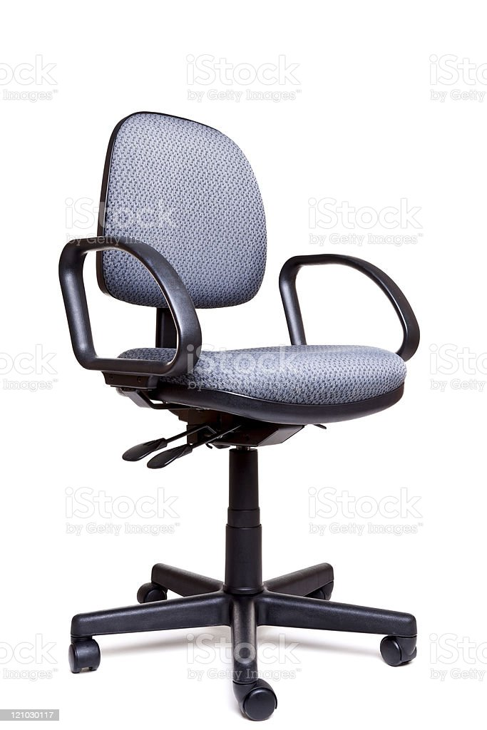 Office swivel chair side facing white background stock photo