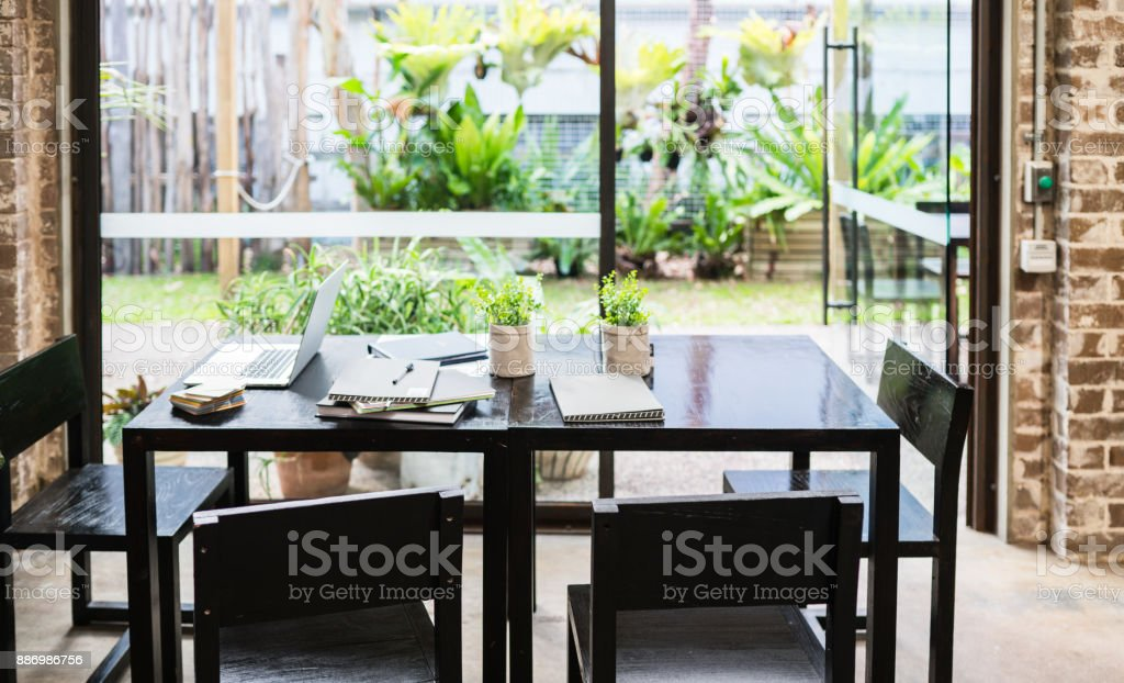Office table after meeting. stock photo