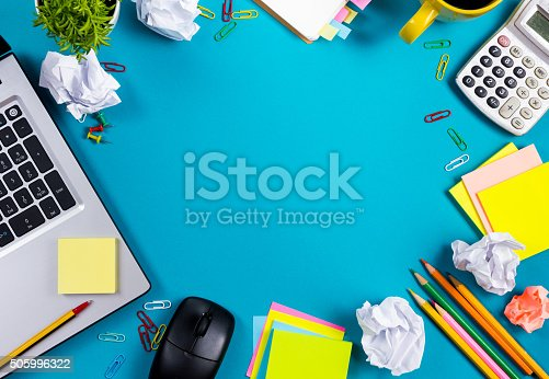515442844 istock photo Office table desk with set of colorful supplies, white blank 505996322