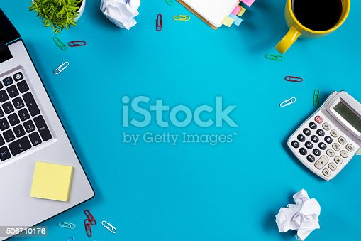 515442844 istock photo Office table desk with set of colorful supplies, white blank 506710176