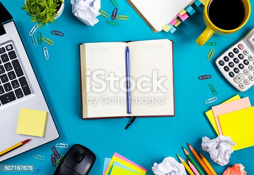 515442844 istock photo Office table desk with set of colorful supplies, white blank 507167676