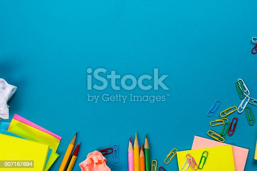 515442844 istock photo Office table desk with set of colorful supplies, white blank 507167694