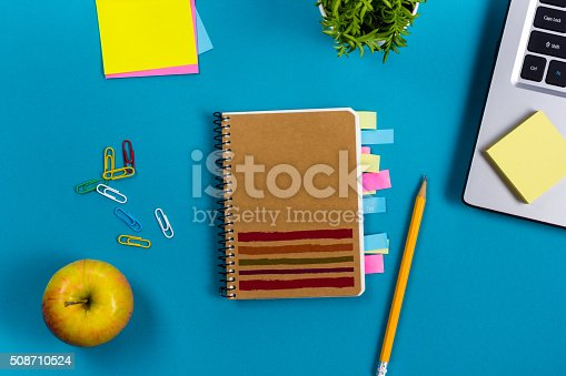515442844 istock photo Office table desk with set of colorful supplies, white blank 508710524