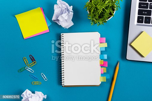 515442844 istock photo Office table desk with set of colorful supplies, white blank 509352370