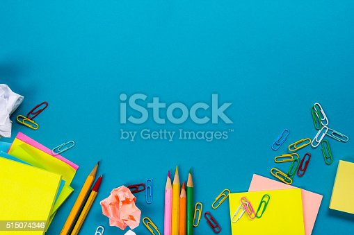 515442844 istock photo Office table desk with set of colorful supplies, white blank 515074346