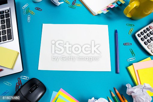 515442844 istock photo Office table desk with set of colorful supplies, white blank 515074480