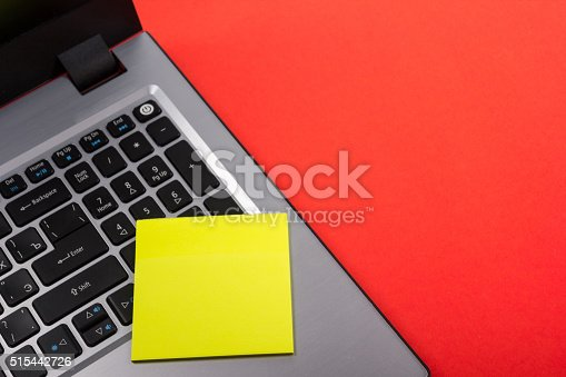 515442844 istock photo Office table desk with set of colorful supplies, white blank 515442726