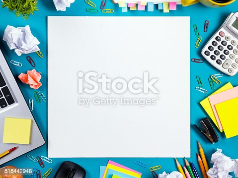 515442844 istock photo Office table desk with set of colorful supplies, white blank 515442946