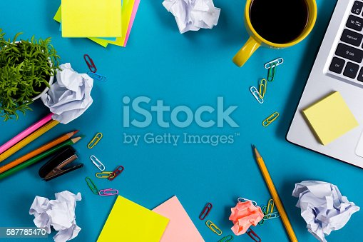 515442844 istock photo Office table desk with set of colorful supplies, white blank 587785470