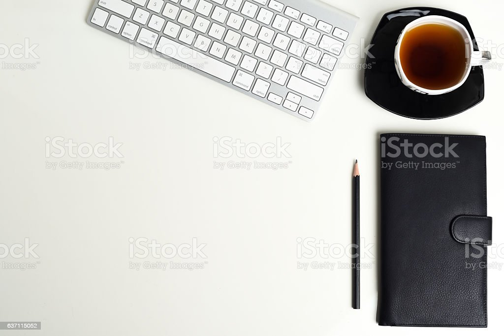 top office table cup. Office Table Top View Keyborad, Tea Cup, Blank Space Royalty-free Stock Photo Cup R
