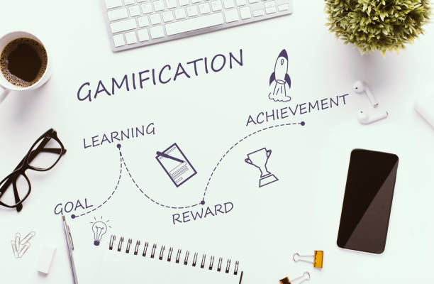 Office table with cellphone, supplies and coffee on white Gamification stages on white workplace - goal, learning, reward and achievement, top view gaming marketing stock pictures, royalty-free photos & images