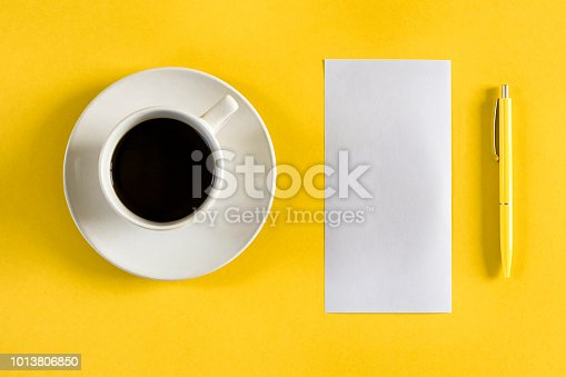 Office table with coffe cup and copy space