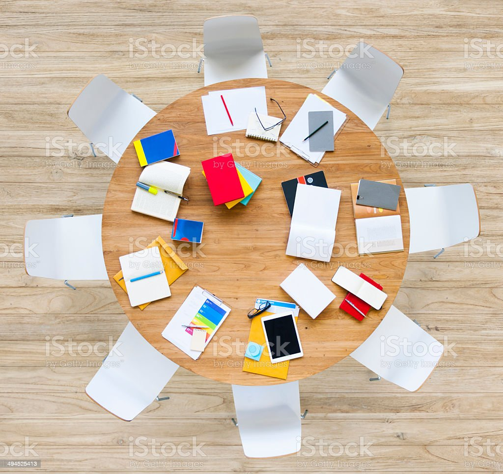 Office Table with Equipments and Documents stock photo