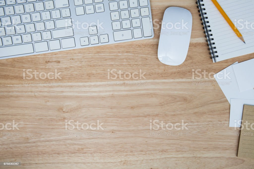 Office table with keyboard and mouse with copy space stock photo