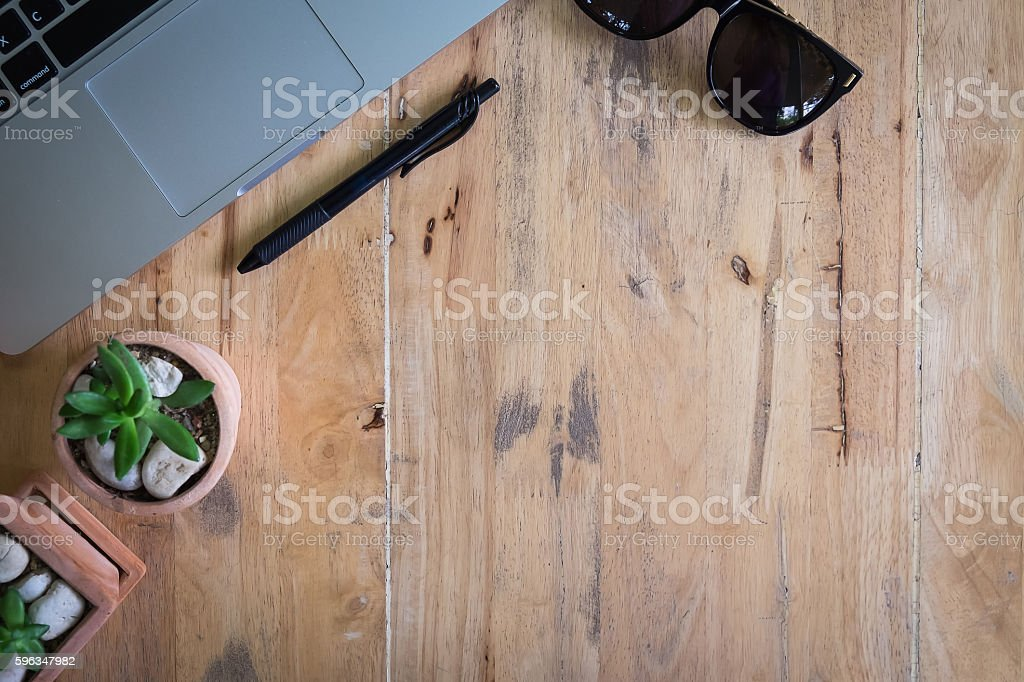 Office table with notepad, computer and coffee cup. royalty-free stock photo