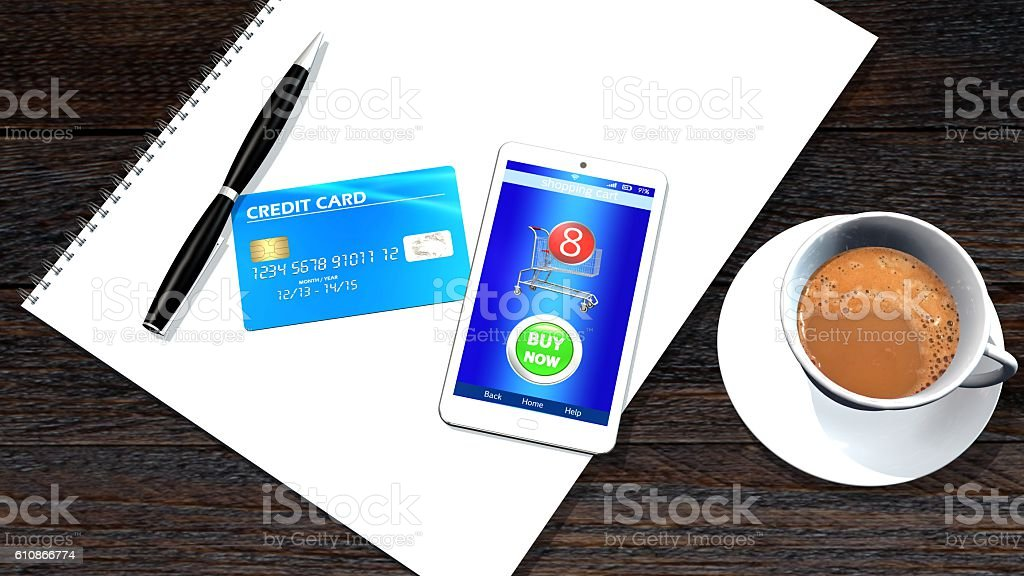 office table with smartphone and credit Card  mobile payment concept stock photo