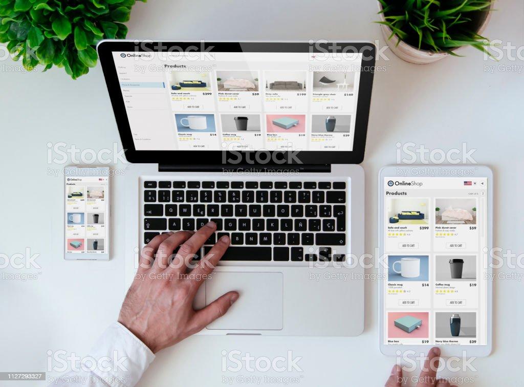 Office tafelblad online shopresponsive ontwerp website - Royalty-free Bedrijfsleven Stockfoto