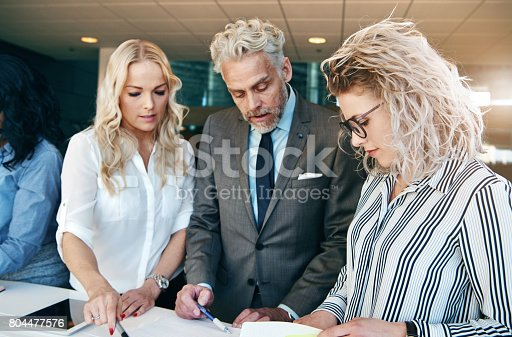 istock Office team coworking and discussing business together 804477576