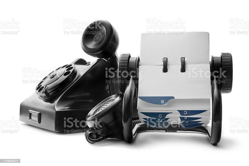Office: Telephone Black and rolodex stock photo