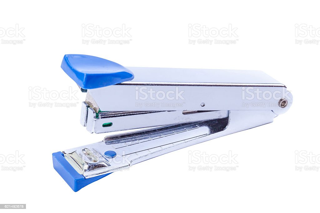 Office tool, blue staplers on white background. Lizenzfreies stock-foto