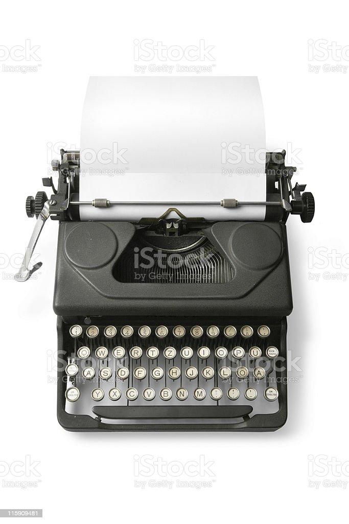 Office: Typewriter Isolated on White Background royalty-free stock photo