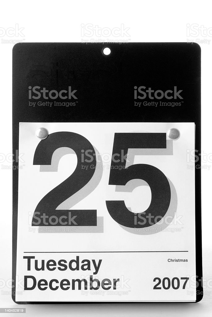 Office Wall Calendar Showing Christmas Day - 2007 stock photo