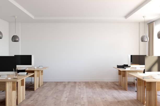 Bürowand mock-up Innenraum. Wandkunst im skandinavischen Stil. 3D Rendering, 3d illustration – Foto