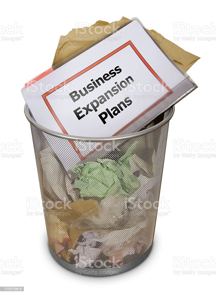 Office waste-bin: Business plans royalty-free stock photo