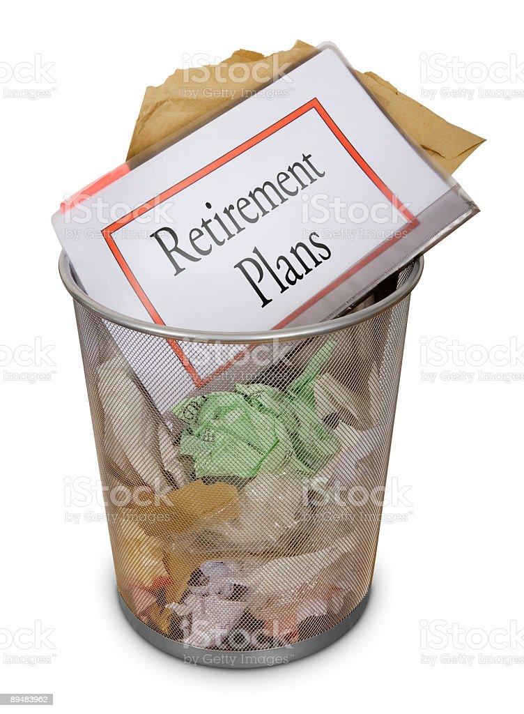 Office waste-bin: Retirement plans royalty-free stock photo