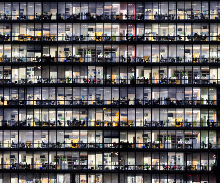 Office Windows By Night Stock Photo - Download Image Now