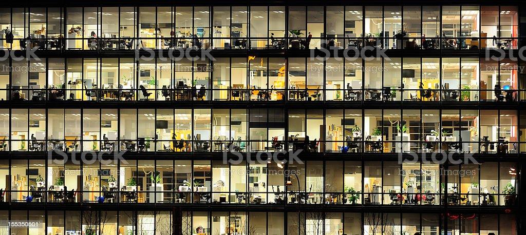 ... Office Windows By Night. Stock Photo ...
