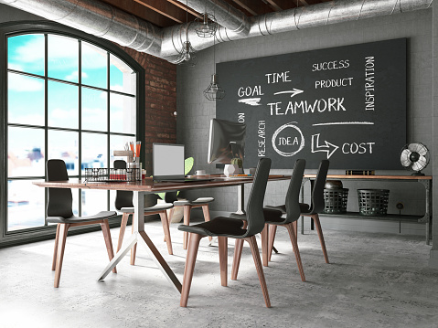 istock Office with Black Board 1178573189