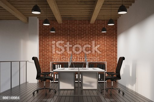 Office with brick and white walls. There are two tables with computers and a railing. 3d rendering.