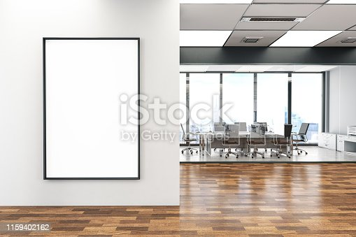 istock Office with Empty Billboard 1159402162