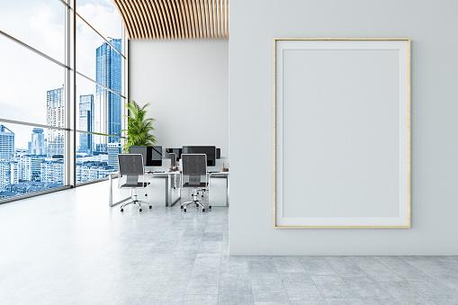 Office with Empty Billboard. 3d Render