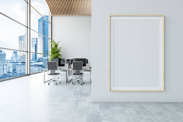 Office with Empty Billboard stock photo