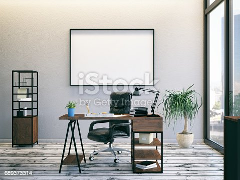 istock Office with Empty Frame 689373314