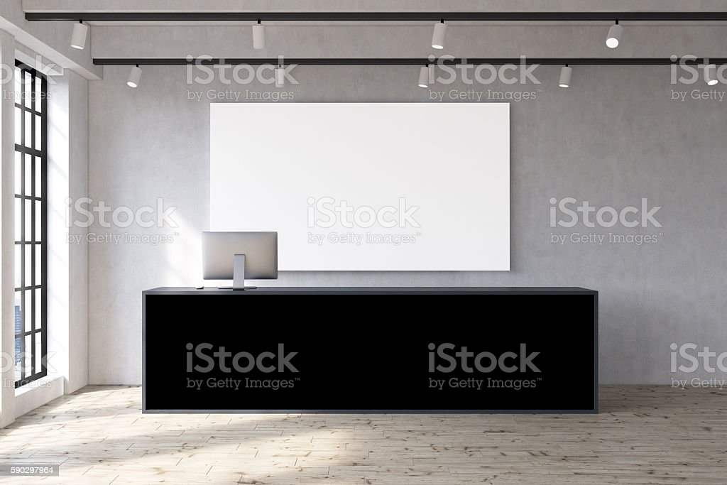 Office with poster and large table Стоковые фото Стоковая фотография