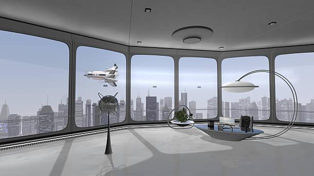 Büro mit Aussicht und Raumschiff – Foto