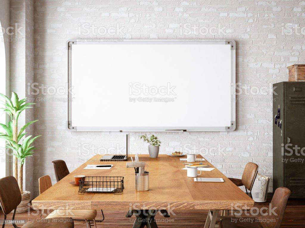 Kantoor met wit bord - Royalty-free Architectuur Stockfoto