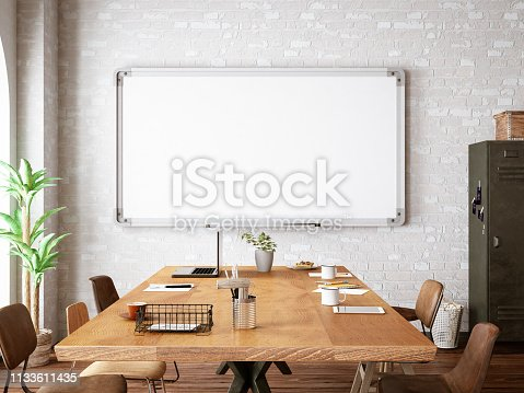 Office with White Board on concrete wall. 3D Render